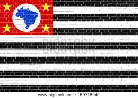 Brazilian state of Sao Paulo official flag symbol. Brasil banner background. Federative Republic of Brazil patriotic element. Flag of Sao Paulo on brick wall texture background, 3d illustration