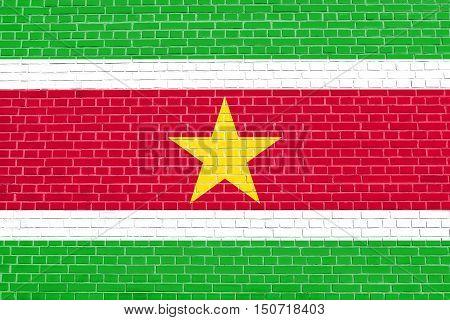 Surinamese national official flag. Patriotic symbol banner element background. Flag of Suriname on brick wall texture background, 3d illustration
