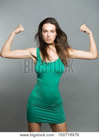 Brunette Woman Showing Muscularity