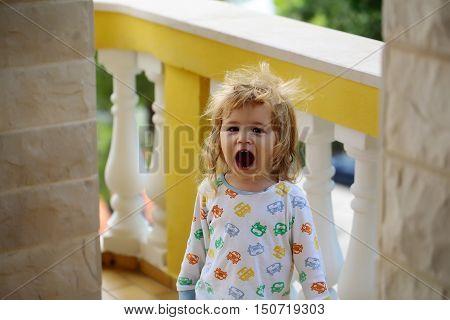 Baby Boy Yawns After Sleeping