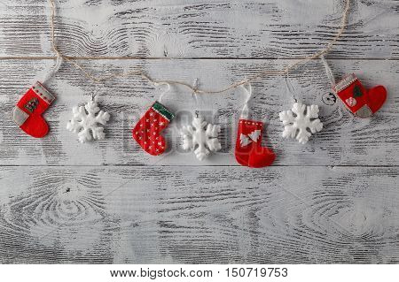 Christmass Decoratio On Grungy Textured Weathered White Wood
