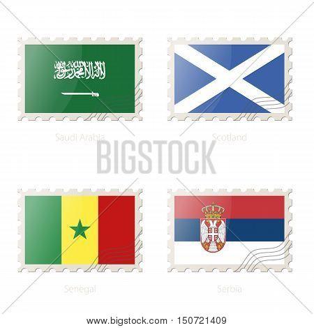 Postage Stamp With The Image Of Saudi Arabia, Scotland, Senegal, Serbia Flag.