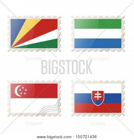 Postage Stamp With The Image Of Seychelles, Sierra Leone, Singapore, Slovakia Flag.
