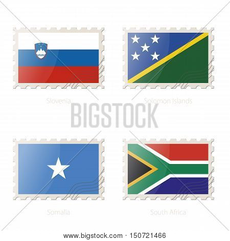 Postage Stamp With The Image Of Slovenia, Solomon Islands, Somalia, South Africa Flag.