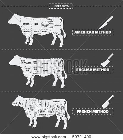 Cuts of beef. American, english and french method. Vector vintage monochrome illustration.