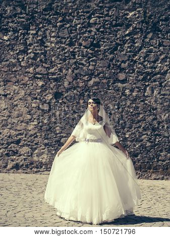 Pretty Bride In White Dress
