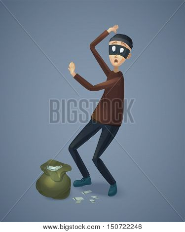 Robber captured with stolen money. Burglar with bag gives up. Thief cartoon character