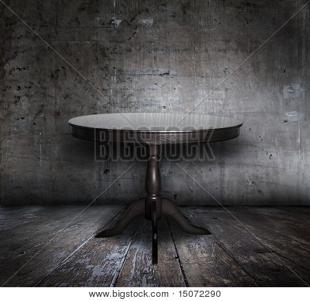 antique table in old grunge interior