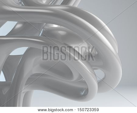 beautiful abstract 3d white grey mobius unit