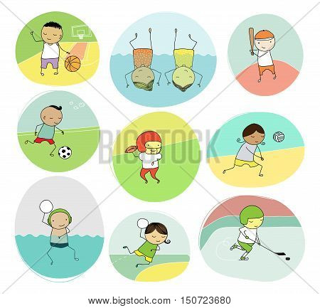 set of naive illustration of children playing different team sports