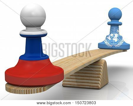 Chess pieces -- pawns in the colors of the flags of the Russian Federation and the United Nations  weighed on the scales. Isolated. 3D Illustration