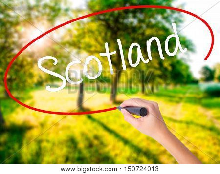 Woman Hand Writing Scotland With A Marker Over Transparent Board .