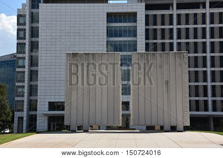 DALLAS, TX - SEP 17: John Fitzgerald Kennedy Memorial in Dallas, Texas, as seen on Sep 17, 2016. The monument was approved by Jacqueline Kennedy herself.