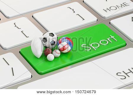 sport button key on keyboard. 3D rendering
