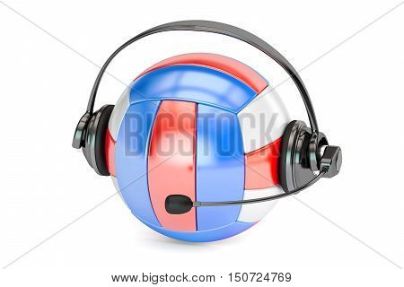 volleyball ball with headset or headphones 3D rendering