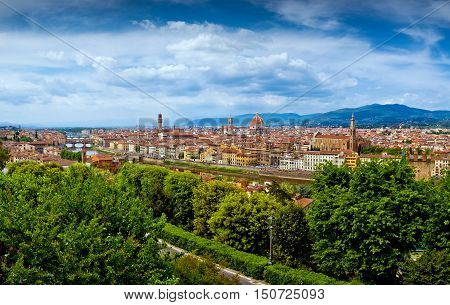 Firenze panorama city view in Italy, urban background