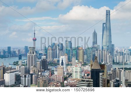 SHANGHAI - AUG 14, 2015: Pudong area. Having started its development in 1980s on site of rice fields, 15 years of Pudong has become financial and business center of whole of China