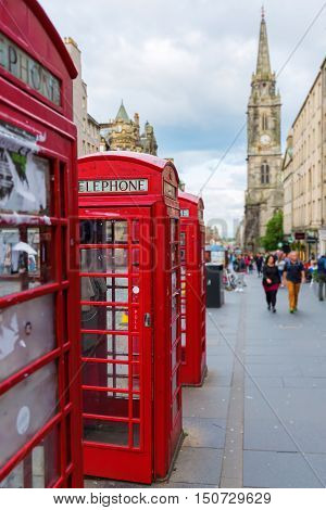 red phone boxes at the Royal Mile in Edinburgh, Scotland