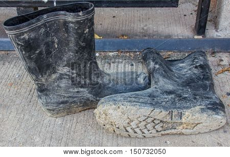 Work boots for construction workers  in construction site.