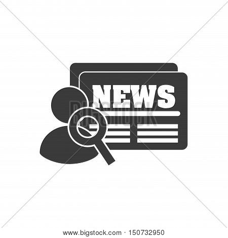 newspaper with social media icon vector illustration design