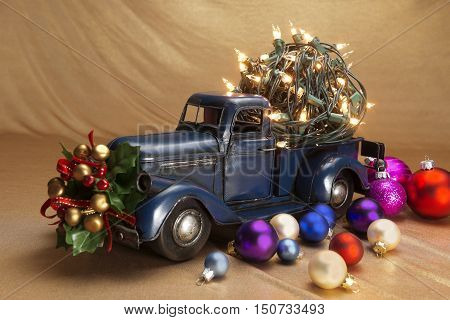Christmas background Pickup with christmas decoration .