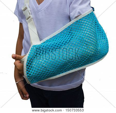 Children hand bone broken from accident with arm sling on white background