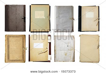 set of old folder isolated on white background with clipping path