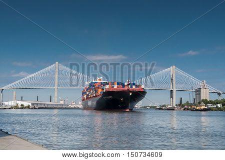 Talmadge Memorial Bridge And Container Ship In Savannah