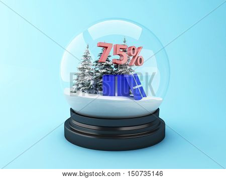 3d renderer image. Snow dome with trees and red 75% discount. Winter sale concept.