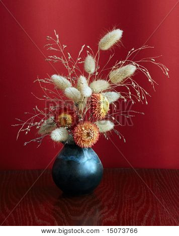 ikebana on red background