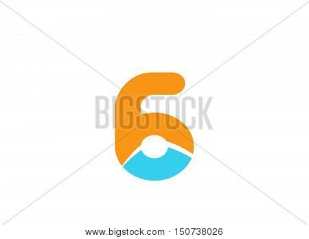 Vector sign spherical number 6 logo design vector template