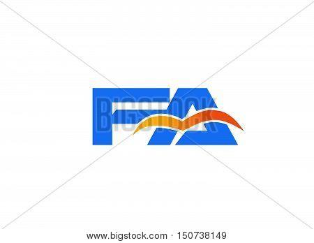 FA company linked letter logo . Vector sign design