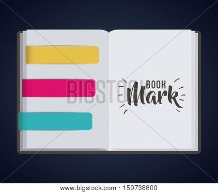 Bookmark label tag and book icon. Guidebook decoration reading and literature  theme. Colorful design. Vector illustration