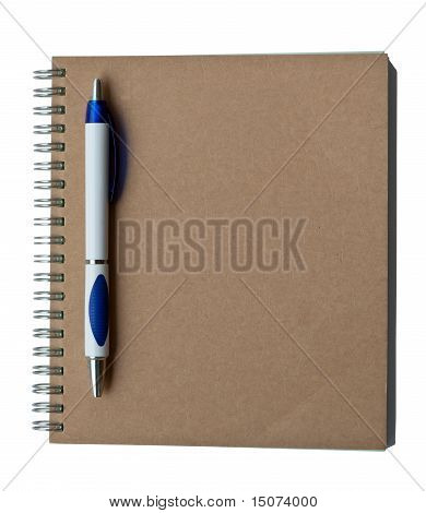 Recycle Notebook Brown Cover With Pen