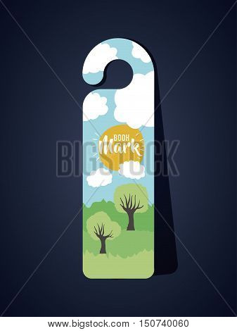 Bookmark with clouds sun and trees icon. Guidebook decoration reading and literature  theme. Colorful design. Vector illustration