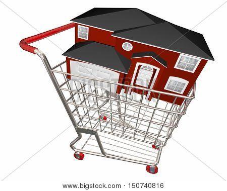 House in Shopping Cart Home Buyer Seller Real Estate 3d Illustration