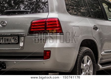 Kazakhstan, Ust-Kamenogorsk, september 30, 2016: Lexus LX 570, new car, new japan suv in the street, fragment