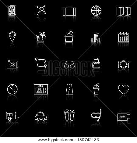 Trip line icons with reflect on black background, stock vector