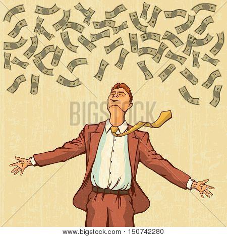Happy man throws money. Retro style pop art. Vector illustration