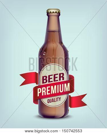 Beer bottled with red ribbon. Vector illustration.