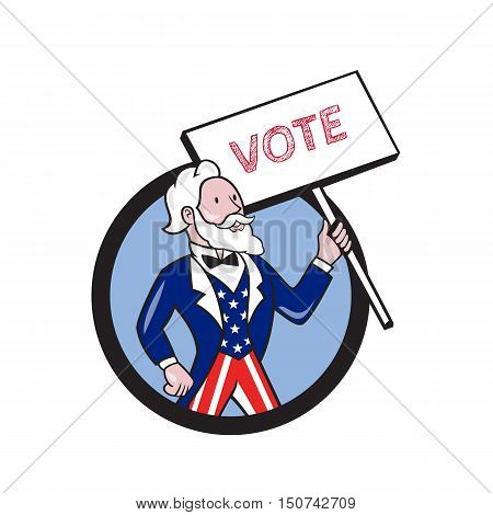 Illustration of Uncle Sam wearing american stars and stripes suit looking to the side holding placard with the word VOTE viewed from front set inside circle on isolated background done in cartoon style.