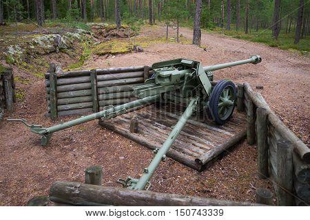 VIROLAHTI, FINLAND - AUGUST 30, 2016: 75-mm antitank gun during the Second world war on the position of the defensive line