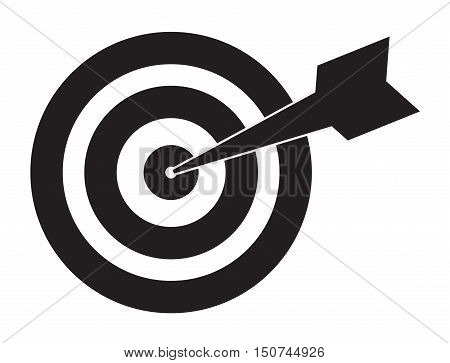 Pictograph of target. target icon. icon flat target with dart in black, isolated, shaded