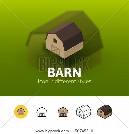 Barn color icon, vector symbol in flat, outline and isometric style isolated on blur background