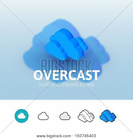 Overcast color icon, vector symbol in flat, outline and isometric style isolated on blur background