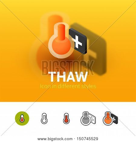 Thaw color icon, vector symbol in flat, outline and isometric style isolated on blur background