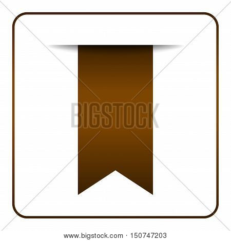 Brown bookmark banner. Vertical book mark isolated on white background. Color tag label. Flag symbol sign. Design element blank. Empty sticker for sale. Template icon decoration. Vector illustration