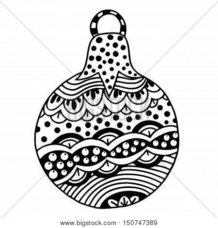 Black and white decorative Christmas ball. Vector template for decorating new year greeting cards, coloring books, art therapy, antistress, t-shirts.