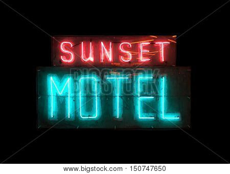 Very Nice Fun Image of a Vintage Motel neon sign