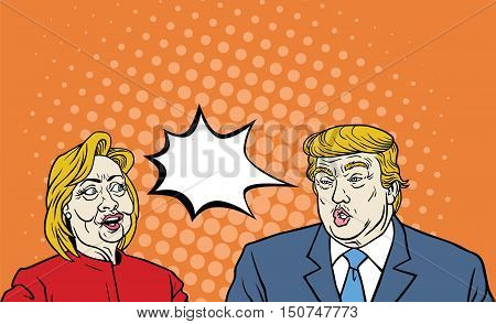 October 7, 2016: Hillary Clinton Versus Donald Trump Debate Pop Art Comic